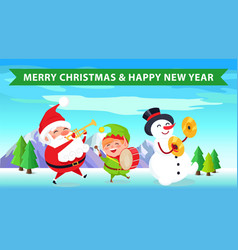 merry christmas santa nature vector image