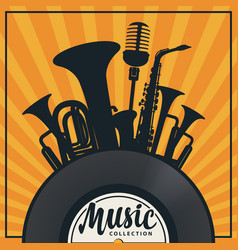 music banner with vinyl record and wind instrument vector image