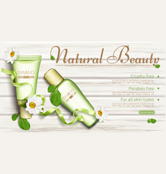 Natural eco cosmetic bottles with chamomile banner vector
