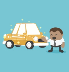 New a car is yellow of African Businessman happy vector image