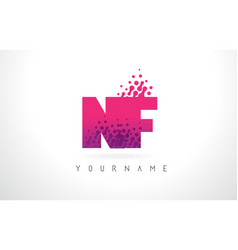 nf n f letter logo with pink purple color and vector image