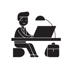 office work black concept icon office work vector image