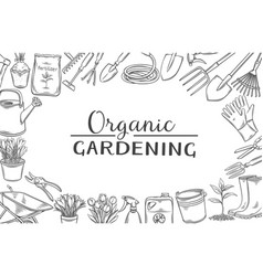 Organic gardening tools layout with lettering vector