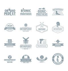 Orthopedics logo icons set simple style vector