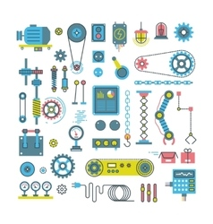 Parts mechanism and robots flat icons vector