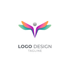 people dragonfly logo vector image