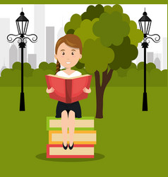 Person reading on park vector