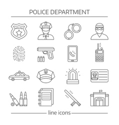 Police Department Linear Icons Set vector image