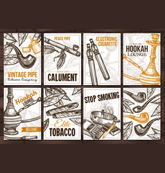 Posters with tobacco smoking collection cigarets vector