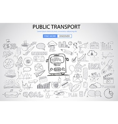 public transports concept wig doodle design style vector image