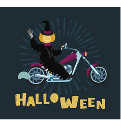 Pumpkin man ride bicycle in halloween day vector