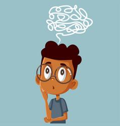 Puzzled little boy solving logical problem vector