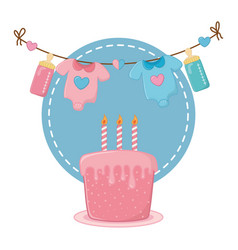 round frame with cake vector image