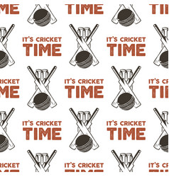 seamless pattern with cricket elements sports vector image