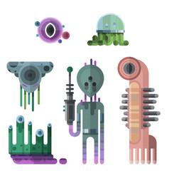 set different funny cartoon monsters cute alien vector image