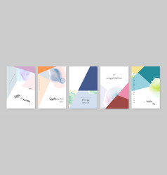 Set hand-painted colorful watercolor card vector