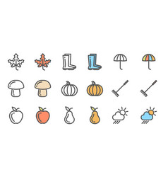 set of autumn icons collection of linear vector image