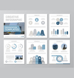 Set of blue and gray elements for multipurpose a4 vector