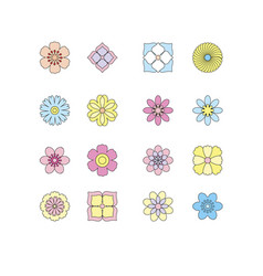 set of flat simple flower vector image