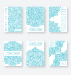 Set of six posters gentle blue color with vector
