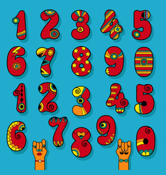 set of vintage numerals red signs with bright vector image