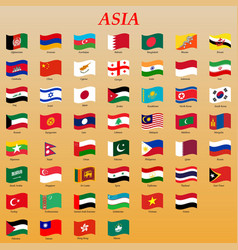 Set waving flags asia vector