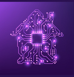 smart house concept violet circuit home isolated vector image