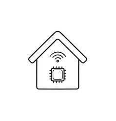 smart house with chip hand drawn outline doodle vector image