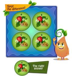 Snail strawberry difference vector