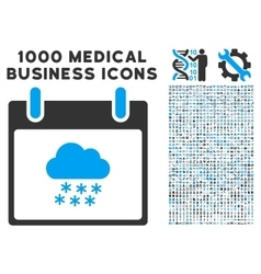 Snow Cloud Calendar Day Icon With 1000 Medical vector