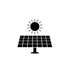solar panel sun icon on white background can be vector image