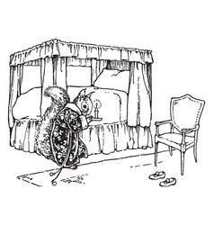 Squirrel wearing robe and holding candle near bed vector
