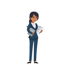successful black businesswoman with papers vector image