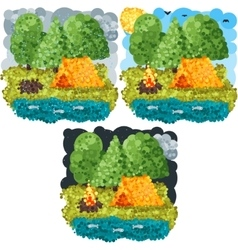 Summer round pixels art vector