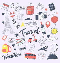 Travel hand drawn doodle with luggage globe vector