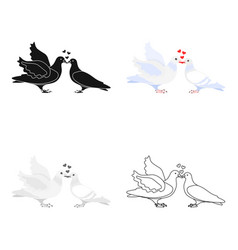 two funny cartoon pigeons white vector image