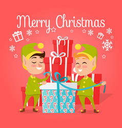 Two happy elves with present on white background vector