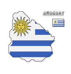 uruguay map and flag modern simple line cartoon vector image