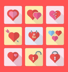 various flat style heart icons set vector image