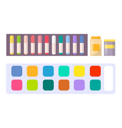 Watercolor paints acrylic oils in tubes cayons vector