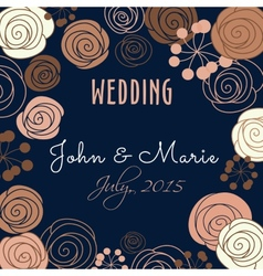 Wedding invitation template with floral elements vector