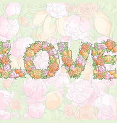 Word love from flowers vector