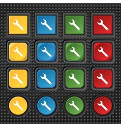 Wrench key sign icon Service tool symbol Set of vector image