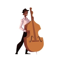 Young African American male contrabass player vector image
