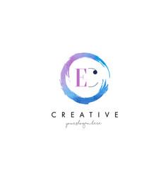 ec letter logo circular purple splash brush vector image
