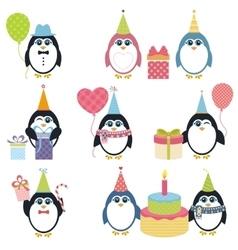 Set of penguins in winter vector image