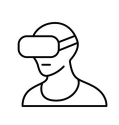 Virtual reality headset vr glasses line icon vector