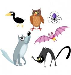 animals Halloween set vector image vector image