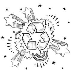 doodle pop recycle vector image vector image