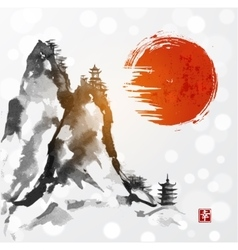 Red sun high mountains and two pagodas vector image